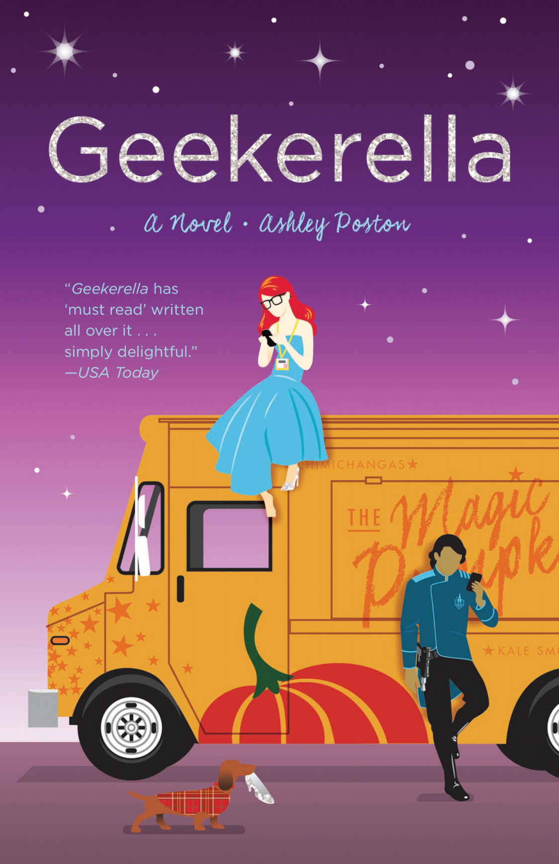 book cover geekerella. girl sitting on to a food truck