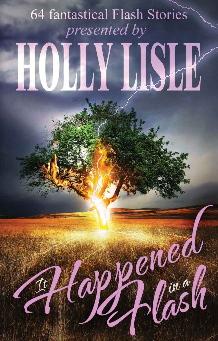Book cover art: in the middle of a dry grass field, a green tree is struck by lightning. Cover text: (above) 64 fantastical Flash Stories presented by HOLLY LISLE; (below) It Happened in a Flash