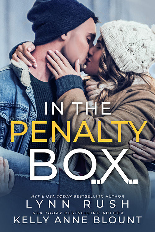 book cover  in the penalty box boy and girl kissing with winter clothing